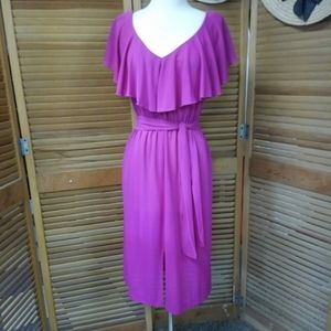 1970s Magenta Ruffled Dress